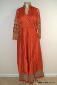 2870-Anarkali Churidar Suit-Orange