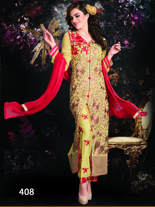 2000 A Greenish Yellow Red Salwar Suit