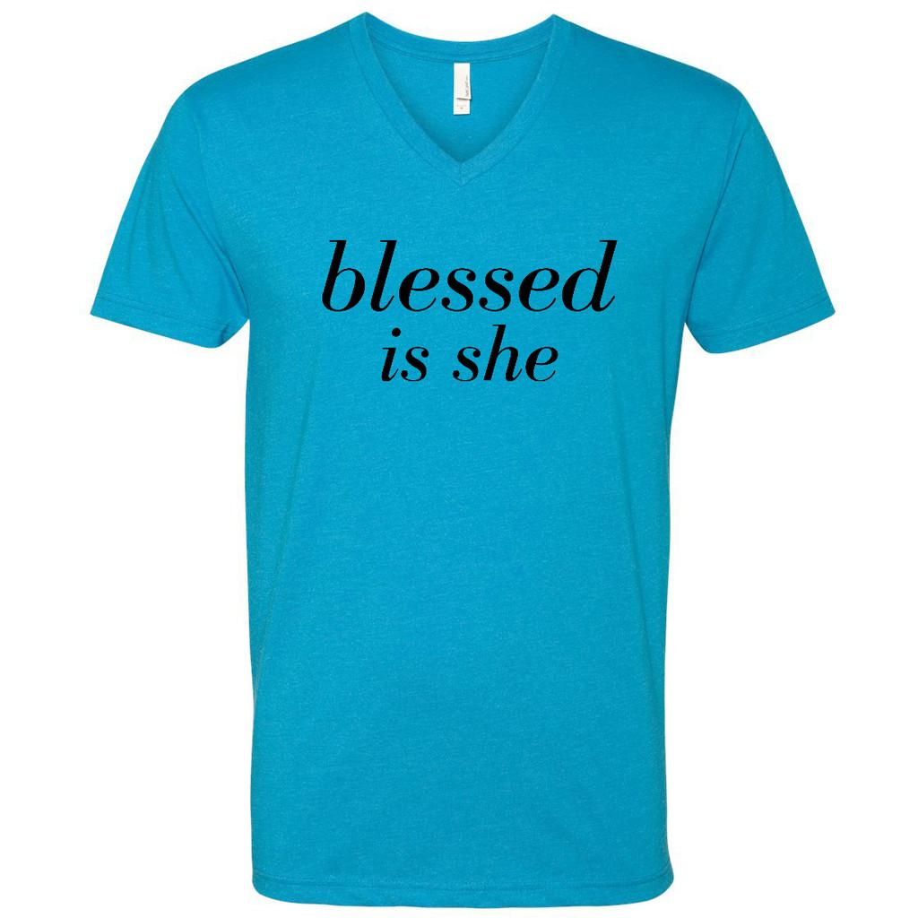 Blessed is she V Neck