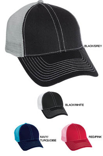 Trucker hat with mesh snap back