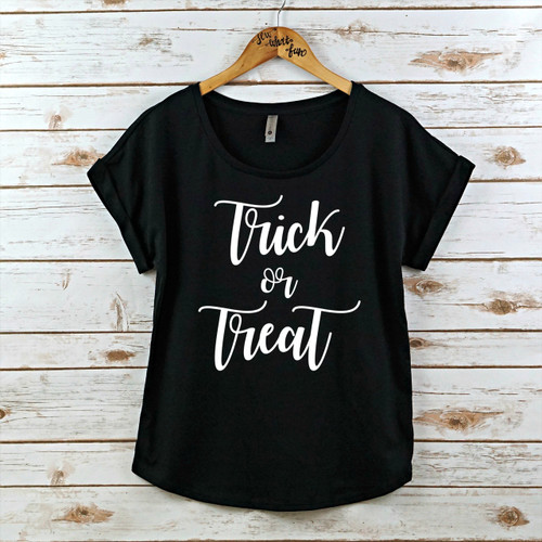 Trick or Treat Rolled Sleeve Dolman shirt