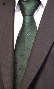 Dark Green Tie with Hidden Weave Square and Compass