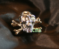 Skull and Cross Bones Lapel Pin  Silver 3/4
