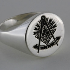 Custom Silver Masonic Round Signet Ring --- Your Choice of Symbols