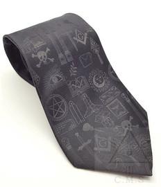 Black Masonic Symbols Tie