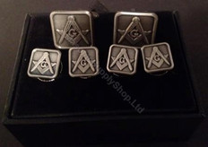 Masonic Cufflink and Stud set   Square   Antique Silver Finish