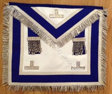 Past Master Apron Royal Blue with Silver Fringe