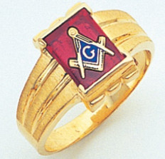 RETANGULAR FACE GOLD MASONIC BLUE LODGE RING WITH CHOICE OF STONE COLOUR