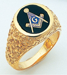 "GOLD BLUE LODGE MASONIC RING WITH ""NUGGET"" DETAILING"