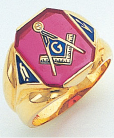 RETANGULAR FACE GOLD MASONIC BLUE LODGE RING WITH CHOICE OF STONE COLOUR AND SIDE EMBLEMS