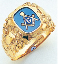 Square Face Gold Masonic Blue Lodge Ring with Stone and Emblem Choice GLCS1199BL