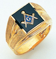 SQUARE FACE GOLD MASONIC BLUE LODGE RING WITH CHOICE OF STONE COLOURGLCS1167BL