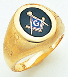 OVAL FACE GOLD MASONIC BLUE LODGE RING WITH CHOICE OF STONE COLOUR GLCS1175BL