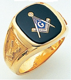SQUARE FACE GOLD MASONIC BLUE LODGE RING WITH CHOICE OF STONE COLOUR TROWEL AND LEVEL ON EITHER SIDE GLCS1180BL