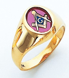 OVAL FACE GOLD MASONIC BLUE LODGE RING WITH CHOICE OF STONE COLOUR HOM412BL