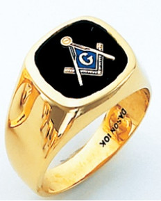 SQUARE FACE GOLD MASONIC BLUE LODGE RING WITH CHOICE OF STONE COLOUR HOM329BL