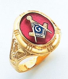 OVAL FACE GOLD MASONIC BLUE LODGE RING WITH CHOICE OF STONE COLOUR AND SIDE EMBLEMS HOM263BL