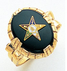 OVAL GOLD EASTERN STAR RING WITH BLACK ENAMEL FACE AND COLOURED STAR DETAIL GLC57360ES