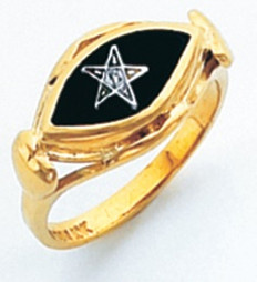 EYE SHAPED GOLD EASTERN STAR RING WITH BLACK ENAMEL CENTRE HOM730ES