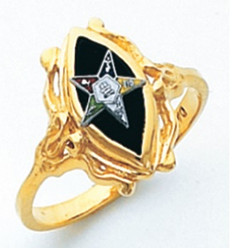 EYE SHAPED GOLD EASTERN STAR RING WITH BLACK ENAMEL CENTRE AND COLOUR DETAILING HOM729ES