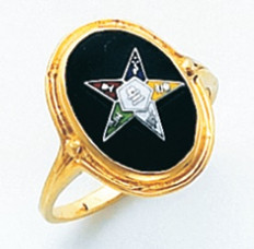 OVAL GOLD EASTERN STAR RING WITH BLACK ENAMEL CENTRE AND COLOUR DETAILING HOM410ES