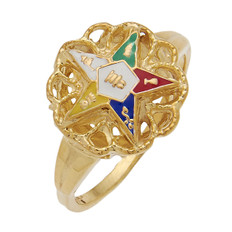 ROUND GOLD EASTERN STAR RING WITH BLACK ENAMEL CENTRE AND COLOUR DETAILING AND ROPING STYLE DESIGN HOM344ES