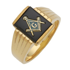SQUARE GOLD BLUE LODGE MASONIC RING WITH STONE COLOUR CHOICE MAS60339BL