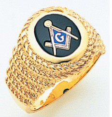 OVAL GOLD BLUE LODGE MASONIC RING WITH STONE COLOUR CHOICE AND ROPING DETAIL MAS60998BL