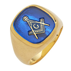 LARGE SQUARE FACED GOLD BLUE LODGE MASONIC RING WITH STONE COLOUR CHOICE MAS60989BL