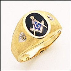 OVAL GOLD BLUE LODGE MASONIC RING WITH STONE COLOUR CHOICE AND DIAMOND CHIPS MAS72479BL