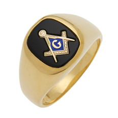 SQUARE GOLD BLUE LODGE MASONIC RING WITH STONE COLOUR CHOICE MAS60335BL