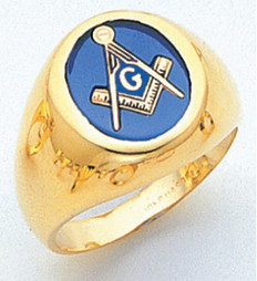ROUND GOLD BLUE LODGE MASONIC RING WITH STONE COLOUR CHOICE MAS60337BL