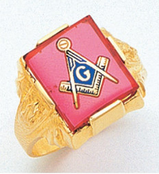 LARGE SQUARE GOLD BLUE LODGE MASONIC RING WITH STONE COLOUR CHOICE MAS894BL