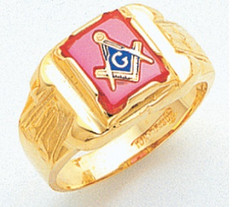 SQUARE GOLD BLUE LODGE MASONIC RING WITH STONE COLOUR CHOICE MAS1301BL