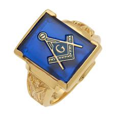Large Rectangular Gold & Blue Masonic Ring with Stone & Emblem Choice MAS1158BL