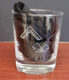 Masonic Whiskey Glass with symbols