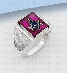 SQUARE STERLING SILVER BLUE LODGE MASONIC RING WITH RED STONE MASCJ264