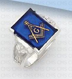 SQUARE STERLING SILVER BLUE LODGE MASONIC RING WITH BLUE STONE MASC1158
