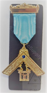 Past Master Breast Jewel   One Bar  Craft Blue  with Blue  Stone-4