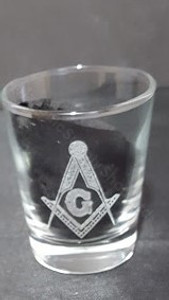 Engraved  Shot Glass with Square & Compass Symbols
