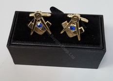 Square and Compass Cufflinks with Blue Stone   Gold Finish