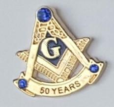 Masonic 50 Year Membership Lapel Pin