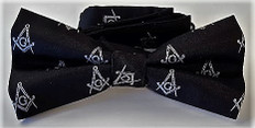 Masonic Black Bow Tie with Silver Square and Compass Design