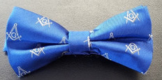 Blue Bow Tie with Silver Square and Compass Design
