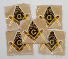 Car Decal  Gold Square and Compass     5 pack