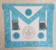Master Mason  Apron with Silver Lodge Badge