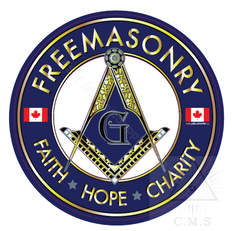 Freemasonry  Car Decal  Square and Compass with Maple Leaves