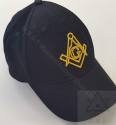 Masonic Baseball Hat Black with Gold Square & Compass