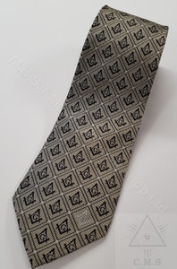 Masonic Tie  Gold with  Black Square & Compass Design