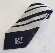 Masonic Tie  Black & Silver Striped  Tie With  Silver Sq & C  Design